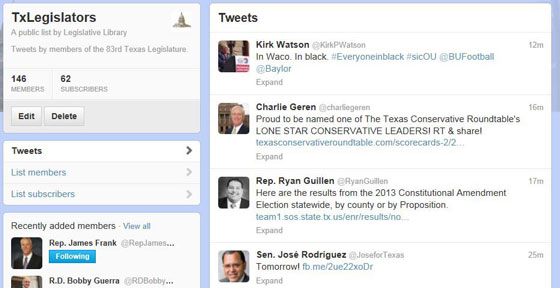 Texas Legislators on Twitter